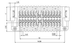 Dimensions Zero8 socket straight unshielded 32 pins