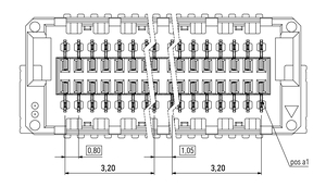 Dimensions Zero8 socket straight unshielded 20 pins