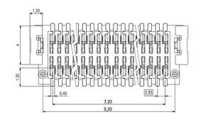 Dimensions Zero8 plug straight unshielded 20 pins