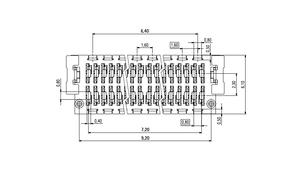 Dimensions Zero8 plug straight shielded 20 pins