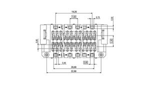 Dimensions Zero8 socket straight shielded 52 pins