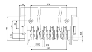 Dimensions Zero8 socket angled unshielded 20 pins