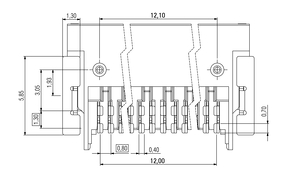 Dimensions Zero8 socket angled unshielded 32 pins