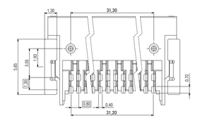 Dimensions Zero8 socket angled unshielded 80 pins