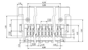Dimensions Zero8 socket angled shielded 12 pins